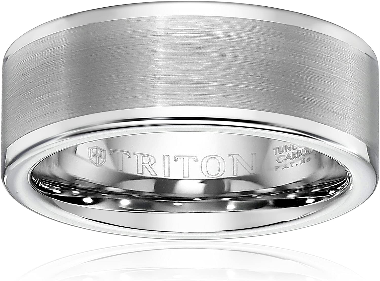 Triton Men's Black Tungsten 8mm Comfort-Fit Wedding Band