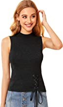 Verdusa Women's Mock Neck Sleeveless Lace Up Ribbed Knit Tank Top