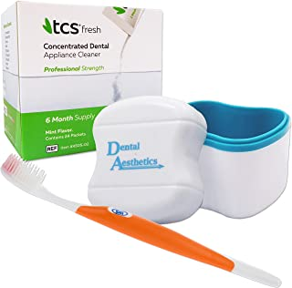 TCS, Denture Bath & Sili Brush - 6 Months Concentrated Cleaner for Flexible Dentures, Weekly Sachets (Orange brush)