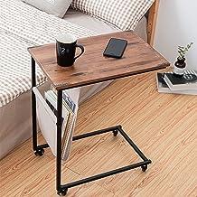 طاولة جانبية للأريكة من HAWOO، طاولة على شكل حرف C لأريكة السرير واللاب توب، طاولة وجبات خفيفة مع جيب جانبي وإطار معدني لغ...