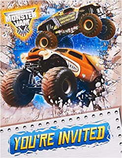 Monster Jam Party Supplies 16 Pack Invitations