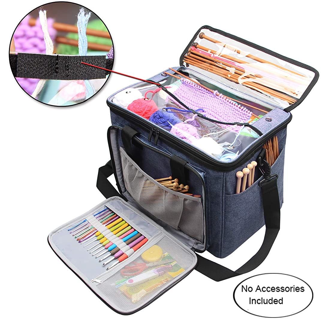 """Teamoy Knitting Bag, Yarn Tote Organizer with Inner Divider (Sewn to Bottom) for Crochet Hooks, Knitting Needles(up to 14""""), Project and Supplies, High Capacity, Easy to Carry-No Accessories Included"""