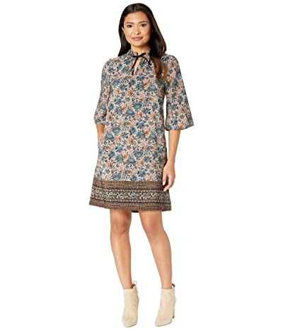 B Collection by Bobeau Magie Tie Neck Dress (Teal Print) Women