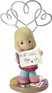 Precious Moments I Love Mom Girl Resin Photo & Picture Holder Stand Home Decor Collectible Figurine 173421,Multi