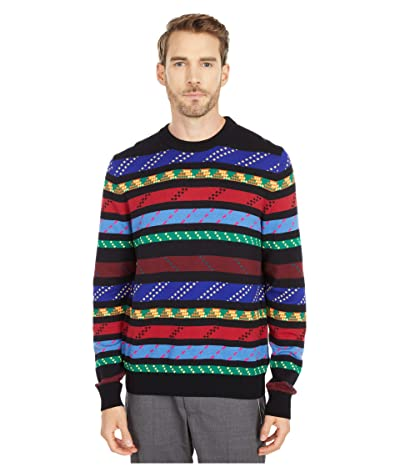 Paul Smith Multicolor Striped Crew Neck Sweater (Black) Men