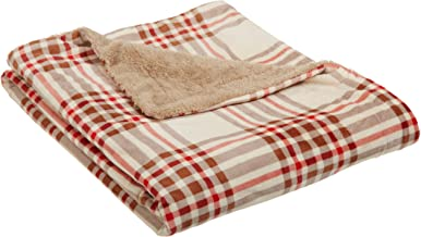 Northpoint Newport Rustic Plaid Rebersible Mink Fur Throw, Ivory