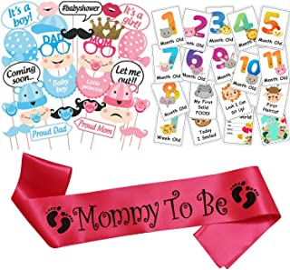 WOBBOX Baby Shower Combo of Photo Booth Party Props, Sash and Milestone Cards - Combo TP