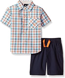 Nautica Boys' Two Piece Short Sleeve Plaid Shirt with Pull On Shorts