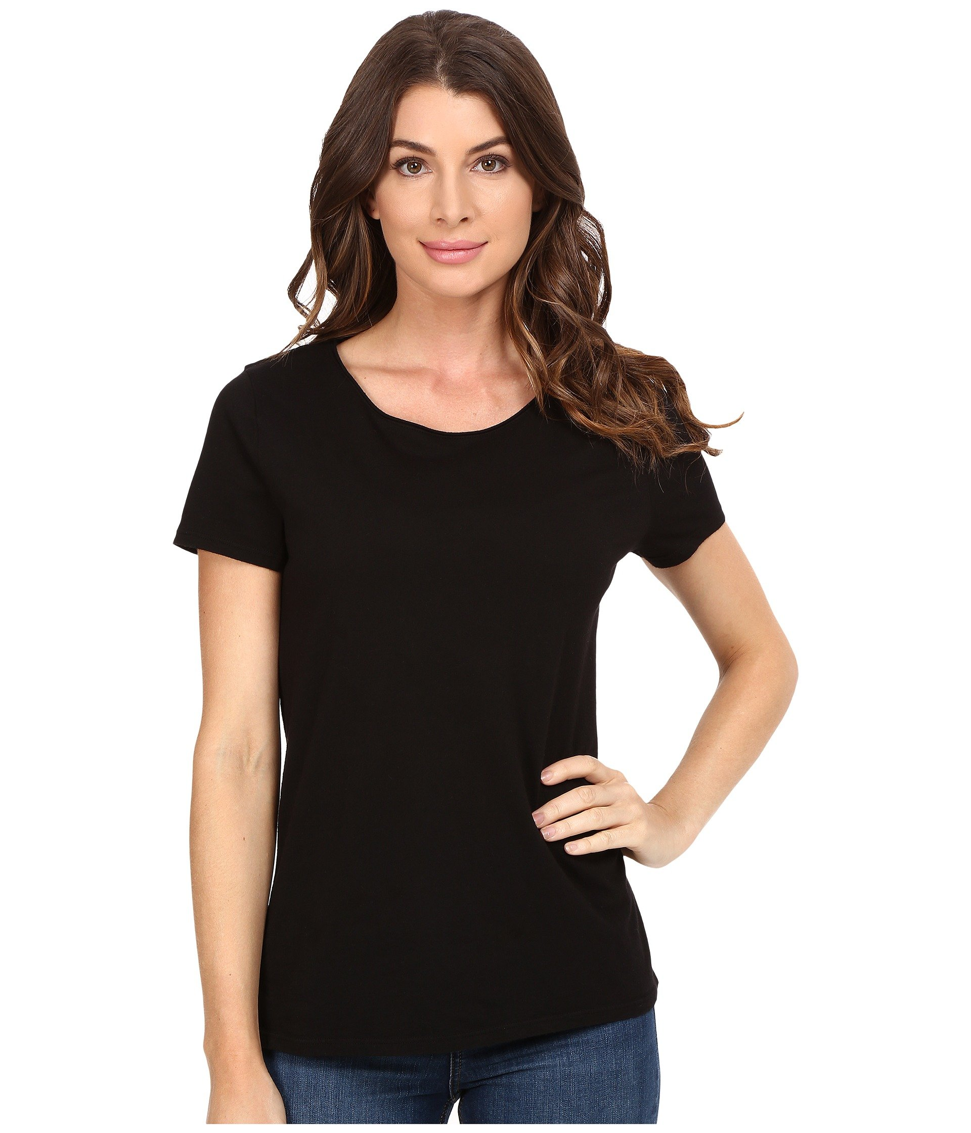 Three dots francine short sleeve tee at 6pm for Model black t shirt