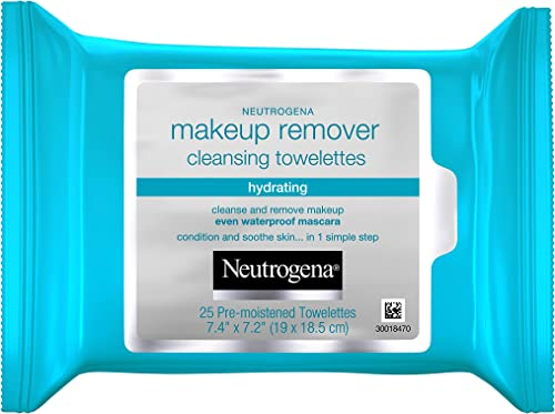 Neutrogena Hydrating Makeup Remover Face Wipes and Pre-Moistening Facial Cleansing Towlettes, Alcohol-Free, 25 ct/pac...