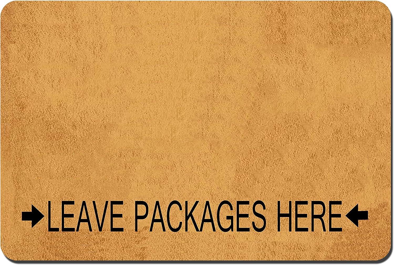 Funny Doormat Custom Indoor Doormat -Leave Packages Here Doormat Welcome Mat Funny Front Door Mats Home and Office Decorative Entry Rug Garden/Kitchen/Bedroom Mat Non-Slip Rubber 23.6 x15.7 Inch