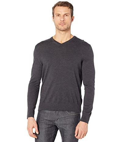 Calvin Klein Merino V-Neck Sweater (Gunmetal Heather) Men
