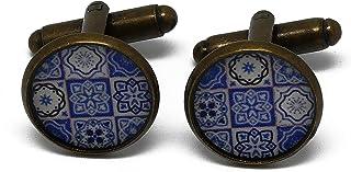 2 Gemelli da polso resina Lisboa Azulejos resina blu bianco ottone regali personalizzati natale papà compleanno matrimonio...