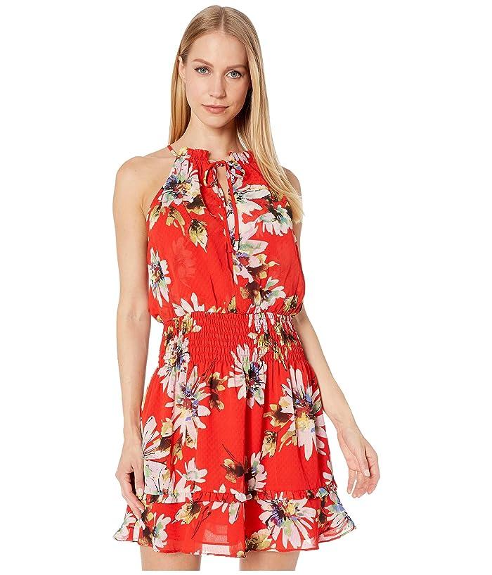 Miss Me Red Floral Print Halter Mini Dress