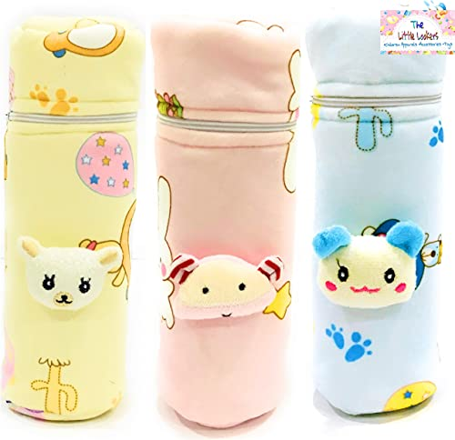 THE LITTLE LOOKERS® Soft Plush Stretchable Baby Feeding Bottle Cover with Easy to Hold Strap and Zip   Suitable for 2...
