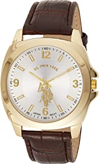 U.S. Polo Assn. Mens Quartz Watch, Analog Display and Leather Strap USC50011