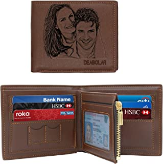 Photo Wallet for Men,Personalized Engraved Leather Wallets,Personalized Gifts for Father,Husband,Son