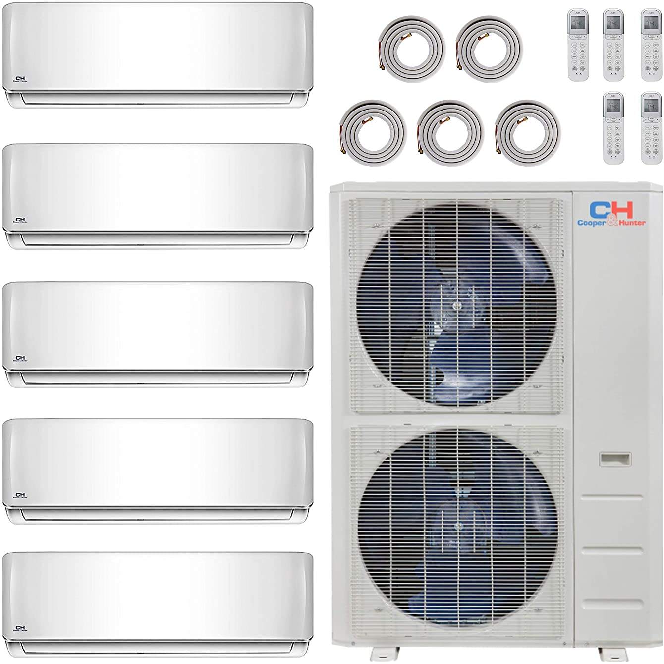 COOPER AND HUNTER Five 5 Zone Ductless Mini Split Air Conditioner Heat Pump 12000 12000 12000 12000 12000 Multi