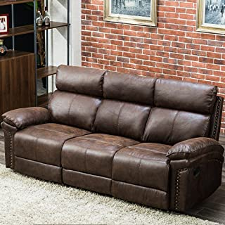 Harper & Bright Designs Sectional Recliner Sofa Set, Manual Recliner for Living Room, Double Recliner Sofa, Brown Reclining Couch (3 Seater)