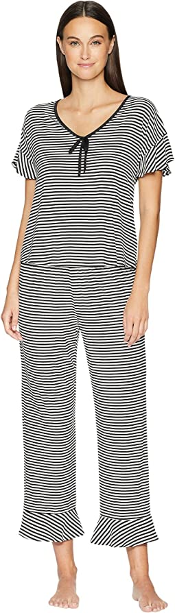Spring Stripe Cropped Pajama Set