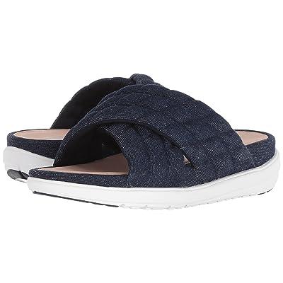 FitFlop Loosh Luxetm Cross Slide Leather Sandals (Dark Blue Denim) Women