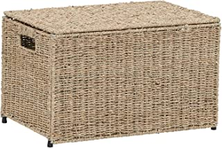 Household Essentials ML-5660 Decorative Wicker Chest with Lid for Storage and Organization | Small |Light Brown
