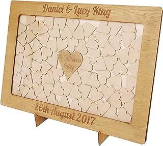 Cornice Drop Box in legno libro nuziale degli ospiti personalizzato con cuori