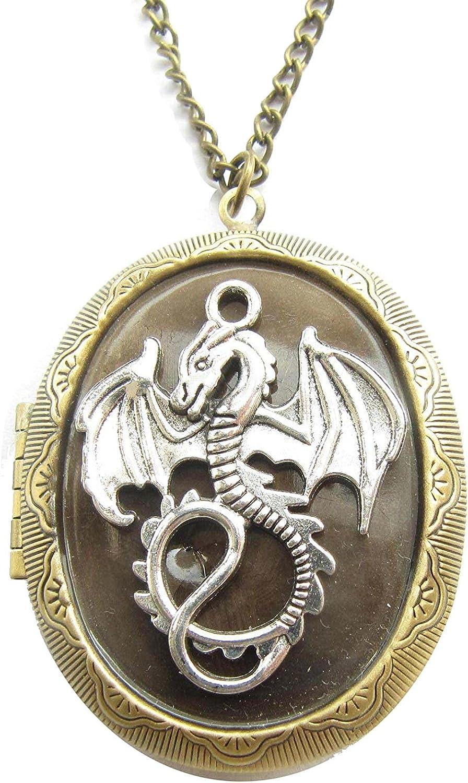 Dragon Locket Necklace Dragon Jewelry Dragon Gifts Photo Locket Secret Locket Gift for Her