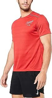 Nike Australia Men's Dri-FIT Miler Graphic Running Top, White/Black/Reflective Silver