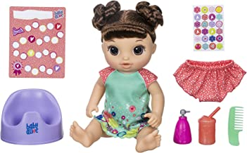 """Baby Alive Potty Dance Baby: Talking Baby Doll with Brown Hair, Potty, Rewards Chart, Undies & More, Doll That """"Pees"""" On Her Potty, For Girls & Boys 3 Years Old & Up"""