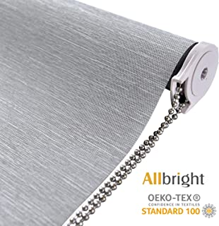 ALLBRIGHT Thermal Insulated Fabric 100% Blackout UV Protection Striped Jacquard Roller Shades for Windows,Easy to Install (Gray, 35'')