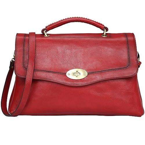 Banuce Vintage Full Grains Italian Leather Handbags for Women Shoulder  Messenger Bag Ladies Tote Bag Purse 4582b1e8d4