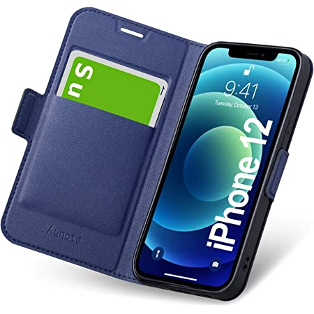 iPhone12 ケース 手帳型 iPhone12 ケース 薄型 スマホケース PUレザー 全面保護 耐衝撃 カード収納 マグネット付き ワイヤレス充電対応 スタンド機能 ストラップホール付き シンプル おしゃれ (アイフォン12ケース ブルー)