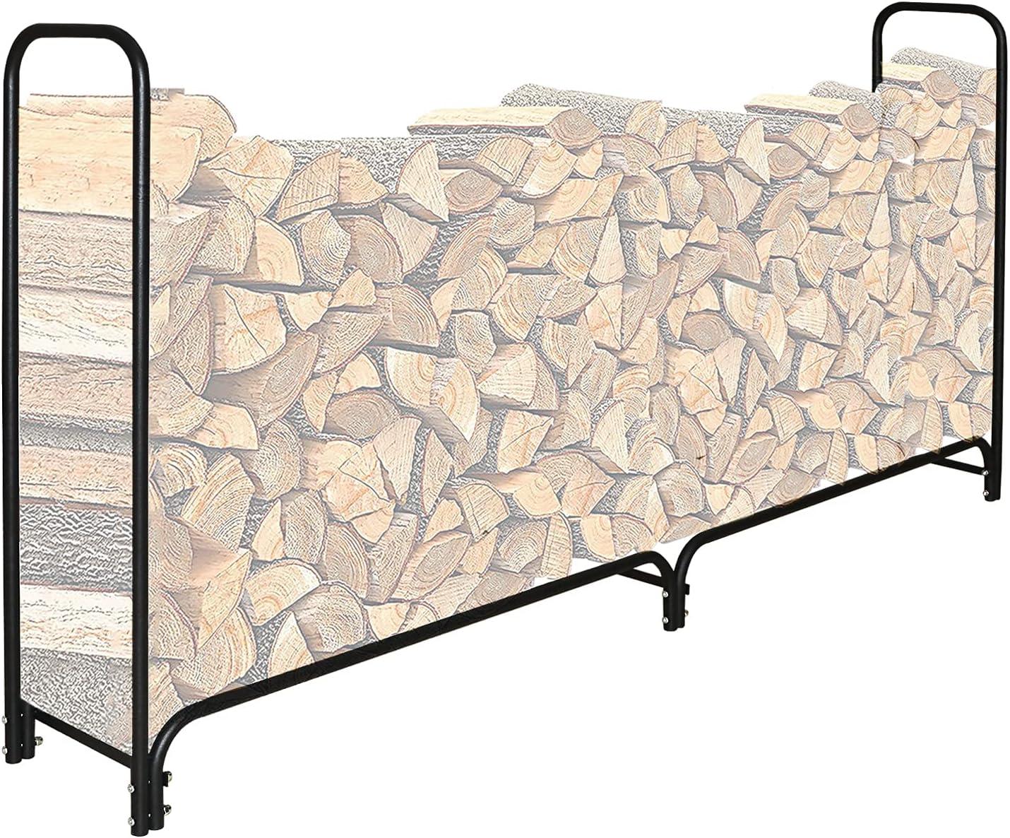 SnugNiture 8 Feet Japan's largest assortment Outdoor Firewood Wood Steel Tubular Daily bargain sale Rack