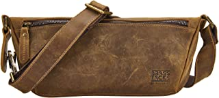 Men's Genuine Leather Waist Packs Fanny Pack with Card Slots Water Resistant Waist Bag(Brown)