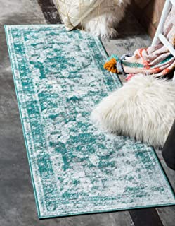 Unique Loom 3137825 Sofia Collection Traditional Vintage Beige Area Rug, 2' x 7' Runner, Turquoise
