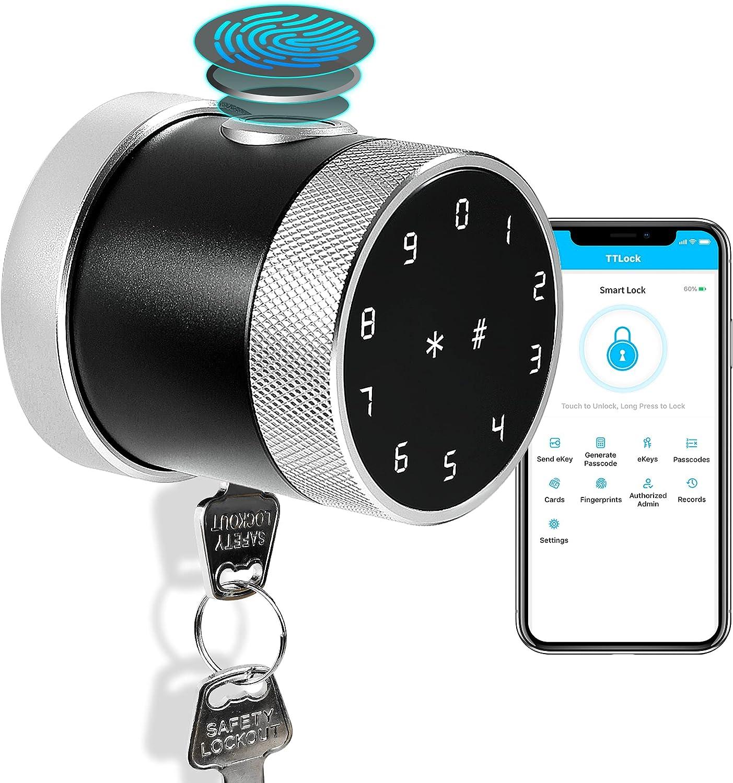 Smart Lock YRHAND Smart Door Lock Smart Fingerprint Lock Biometric Door Lock with Key Bluetooth Door Knob IC Card for Smart Lock Easy Installation Digital Lock for Front Door Home Hotel Bedroom Airbnb