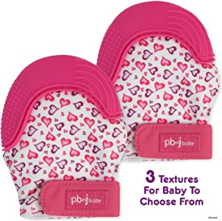 PBnJ baby Silicone Infant Teething Mitten Teether Glove Mitt Toy with Travel Bag-Heart 2pk