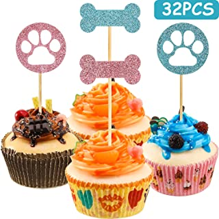 32 Pieces Dog Cupcake Toppers, Puppy Cupcake Toppers, Dog Bones and Dog Claws Cake Decoration, Party Decorations Supplies for Puppy Birthday Party, Pet Theme Birthday Party, Kids Birthday Party