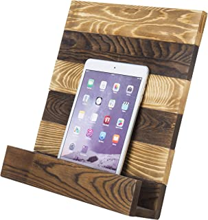 MyGift Rustic Brown Wood Cookbook/iPad Tablet Holder with Kickstand