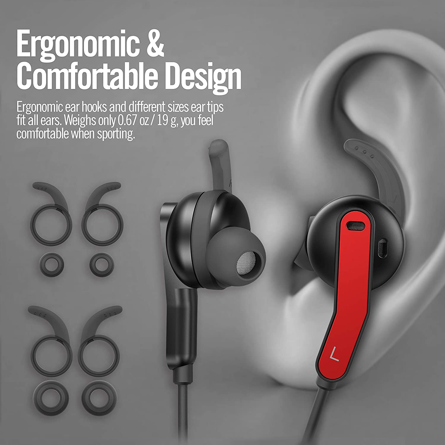 Active Noise Cancelling Headphones AKAMATE Wireless Neckband Headset Bluetooth V4.2 in-Ear Waterproof Earbuds Magnetic Hi-Fi Stereo Sports Earphones Mic Carrying Bag