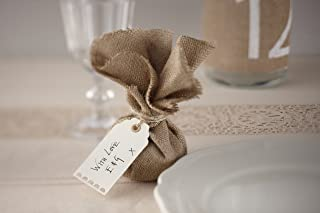 Ginger Ray AF-629 Ivory Textured Luggage/Gift Tags X 10 with Twine-Vintage Affair