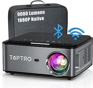 TOPTRO 2.4/5G WiFi プロジェクター 1920*1080P 4K対応、Bluetooth5.0 9000LM 300インチ大画面 天井 小型プロジェクター、4D台形補正 50%ズーム ホーム ビジネス プロジェクター、USB/H...