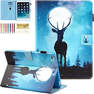 Dteck 9.7-Inch Case for iPad 6th Generation 2018 & iPad 5th Generation 2017 & iPad Air 2 & iPad Air 1 Tablet - Magnetic Stand Synthetic Leather Protective Smart Wallet Flip Fold Cute Cover (Moon Elk)