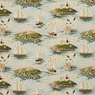 J9600C Costal Scene with Lighthouse and Sail Boats Woven Decorative Novelty Upholstery Fabric by The Yard