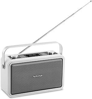 TechniSat Digitradio 225 DAB Radio, Portables DAB+/UKW Radio (mit Metall Tragegriff und integriertem Akku, Sleeptimer, Wecker, Kopfhöreranschluss, Bluetooth, NFC) weiß