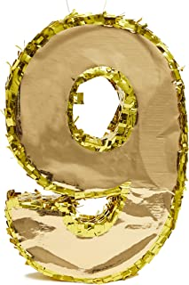 Juvale Small Number 9 Gold Foil Pinata, Ninth Birthday Party Supplies, 15.5 x 11 x 3 Inches