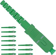 BEYONDTECH Fiber SC Connector - Fiber Optic Connector Kit Single Mode Simplex APC 3.0mm - 10 Pack Ceramic Ferrule Fiber Connectors