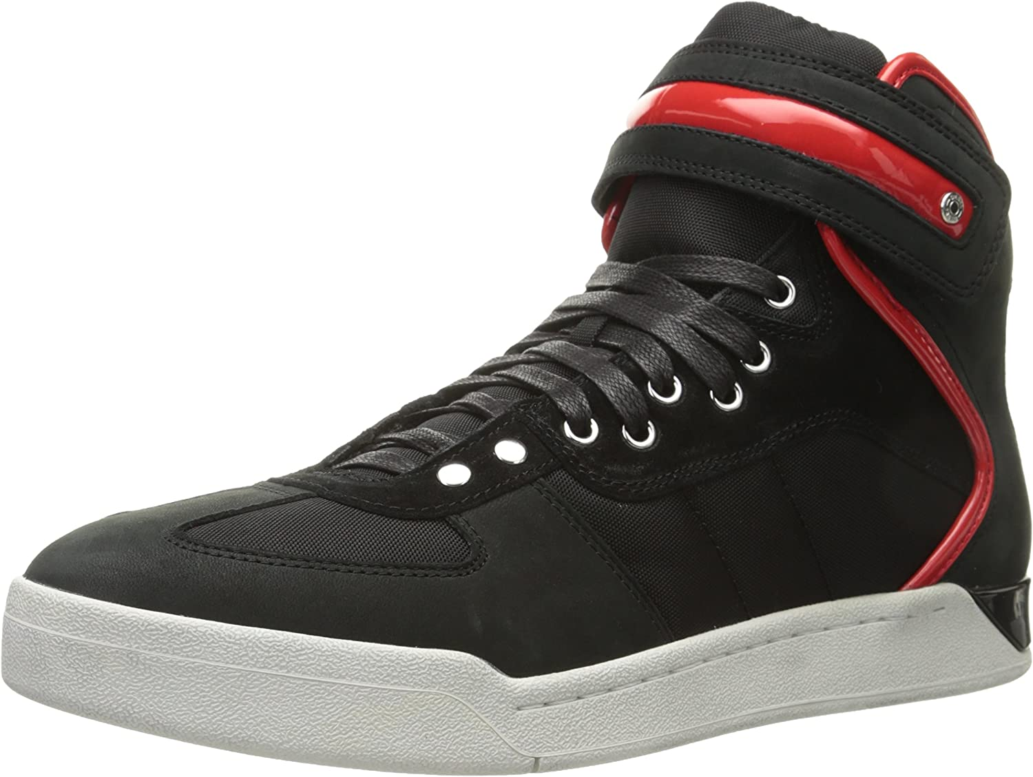 DIESEL - Sneakers - Men - Black S-Seyene High-Top Laces Velcro Sneakers with White Sole for men