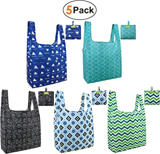 Grocery-Totes-Bags-Shopping-Reusable-Bags 5 Pack with Pouch Grocery Bags Cloth Reusable Bags Ripstop Washable Foldable Bag Large Durable Lightweight green black teal blue navy